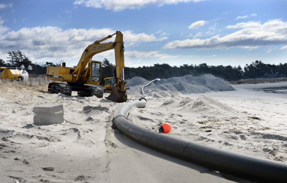 The 115,000 cubic yards of sand to be dredged from the Scarborough River will be pumped onto Western Beach to restore what has been washed away in recent years – piping plover habitat and dunes for natural protection of the Prouts Neck Country Club.