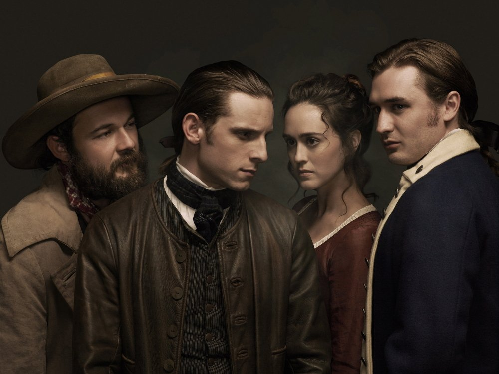 "Characters in AMC's ""Turn"" include, from left, Caleb (played by Daniel Henshall), Abraham Woodhull (Jamie Bell), Anna Strong (Heather Lind) and Ben Talmadge (Seth Numrich)."