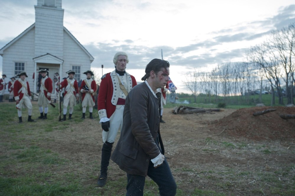 "Captain Simcoe, played by Samuel Roukin, and Abraham Woodhull (Jamie Bell) are shown in the first episode of AMC's ""Turn,"" a series that gives a more complex look at the American Revolution."