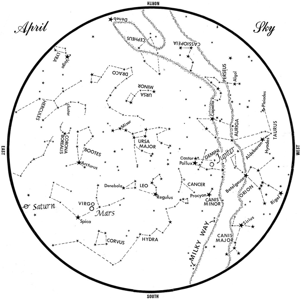 SKY GUIDE: This chart represents the sky as it appears over Maine during April. The stars are shown as they appear at 10:30 p.m. early in the month, at 9:30 p.m. at midmonth and at 8:30 p.m. at month's end. Saturn, Mars and Jupiter are shown in their midmonth positions. To use the map, hold it vertically and turn it so that the direction you are facing is at the bottom.