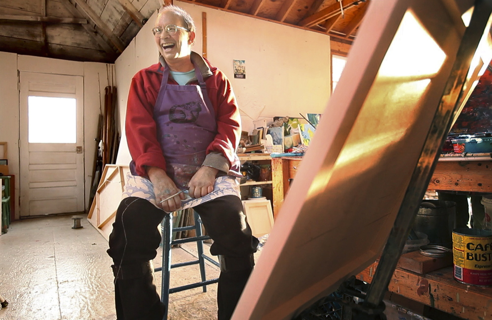 Jon Imber, who is fighting amyotrophic lateral sclerosis, also known as Lou Gehrig's disease, was photographed in his studio last fall for a profile by Telegram arts writer Bob Keyes.