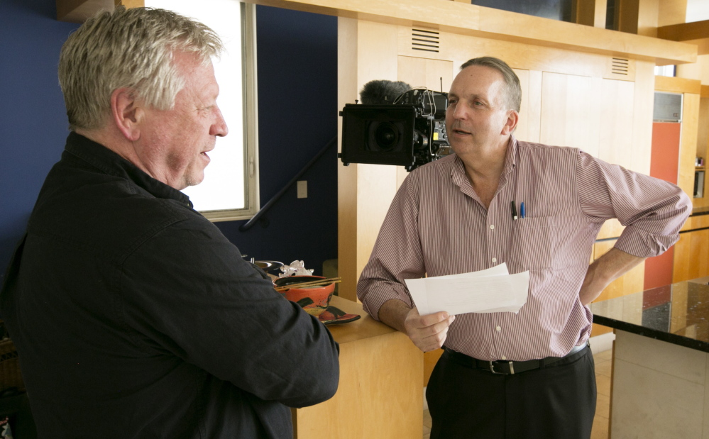 "Producer Robert Erickson, right, who will travel to Portland on Wednesday to do interviews for a documentary on the 24 hours before the Sept. 11 attacks, talks with Terry McDermott, author of ""Perfect Soldiers: The 9/11 Hijackers: Who They Were, Why They Did It."""