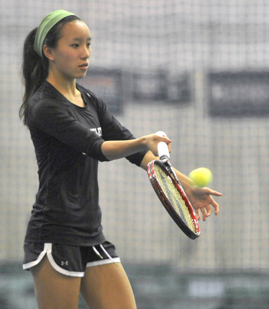 Senior Sophie Raffel is a top player for the Waynflete girls' tennis team, which held its first practice indoors at Portland's Racquet and Fitness Club on Monday.