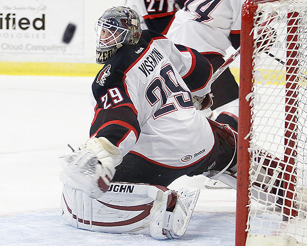 Mark Visentin of Portland watches a Springfield shot sail wide, but nine others found their way past Visentin and fellow Pirates goalie Louis Domingue on Sunday.