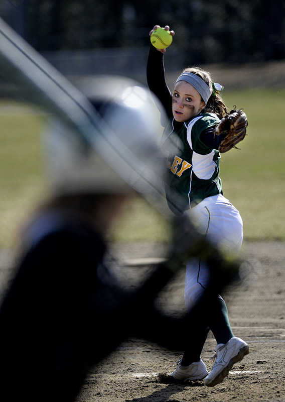 Sam Libby of McAuley delivers a pitch during an extra-long opener – a 7-5 victory by Marshwood in 13 innings.