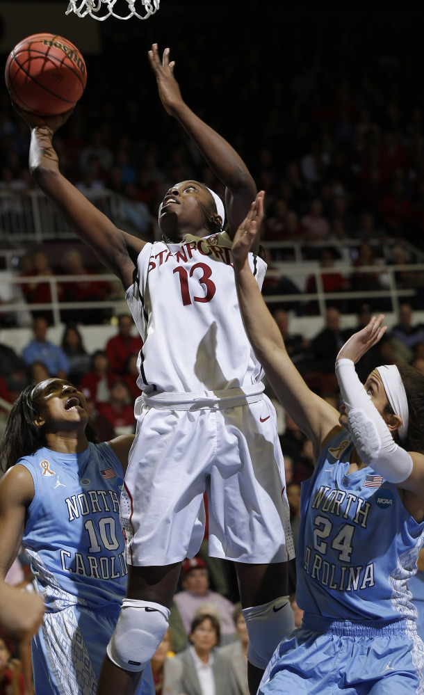 Stanford's Chiney Ogwumike, shown scoring in Tuesday's 74-65 win over North Carolina, is a finalist for the John R. Wooden Award.