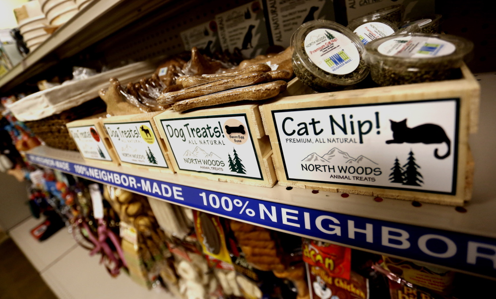 """New, """"100% Neighbor-Made"""" products have been added to the pet section at Goodwill of Northern New England in South Portland as the organization changes its business model."""