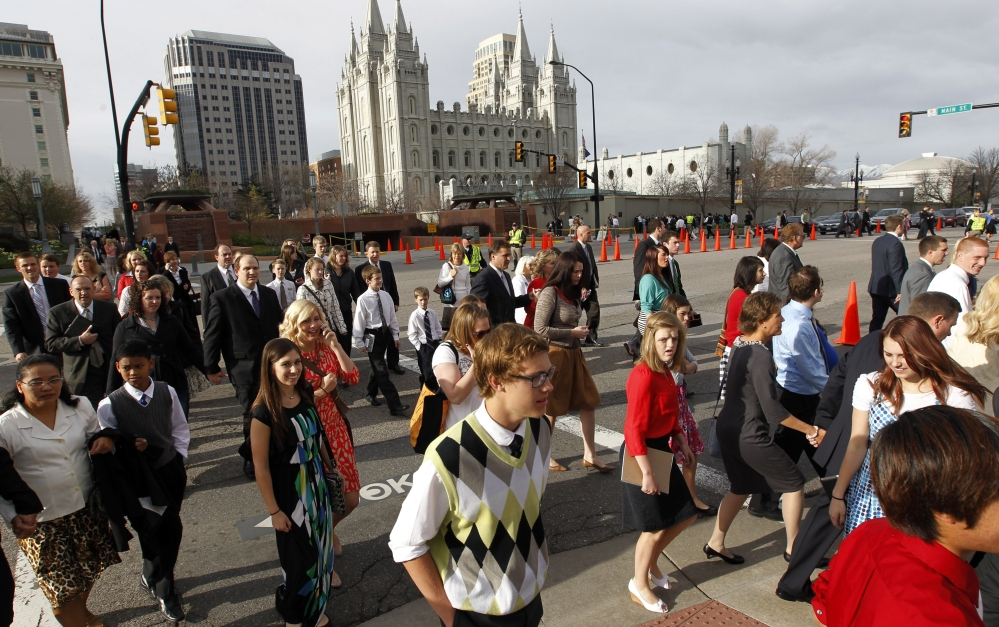 The biannual General Conference of The Church of Jesus Christ of Latter-day Saints, seen above last April, is expected to attract about 100,000 to Salt Lake City this weekend.