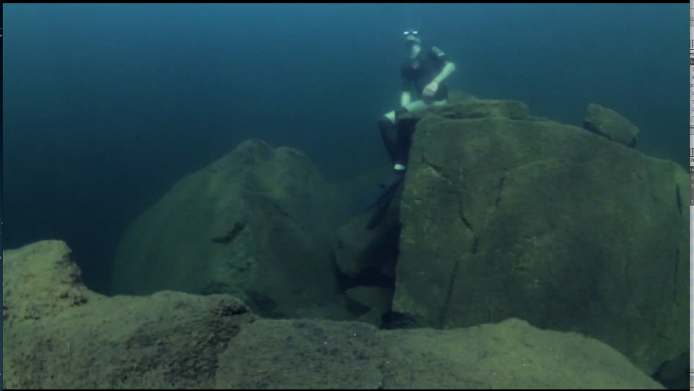 """Over the past five years, Steve Underwood has filmed in more than 80 of Maine's most pristine lakes, ponds, rivers and streams, and in tropical climates has filmed whales, sharks, dolphins, turtles, eagle rays and fish by the thousands. And he has done it all while holding his breath as a free diver. """"UnderwaterGuy"""" blends his multimedia visuals in a live one-man show with colorful characters, stories, original music and more. The show is presented by Good Theater at 2 p.m. Sunday and continues Wednesday through April 13 at the St. Lawrence Arts Center in Portland."""