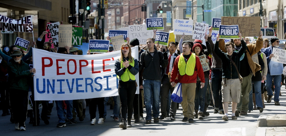 Protests like this one Thursday followed the decision to lay off 12 University of Southern Maine faculty members.