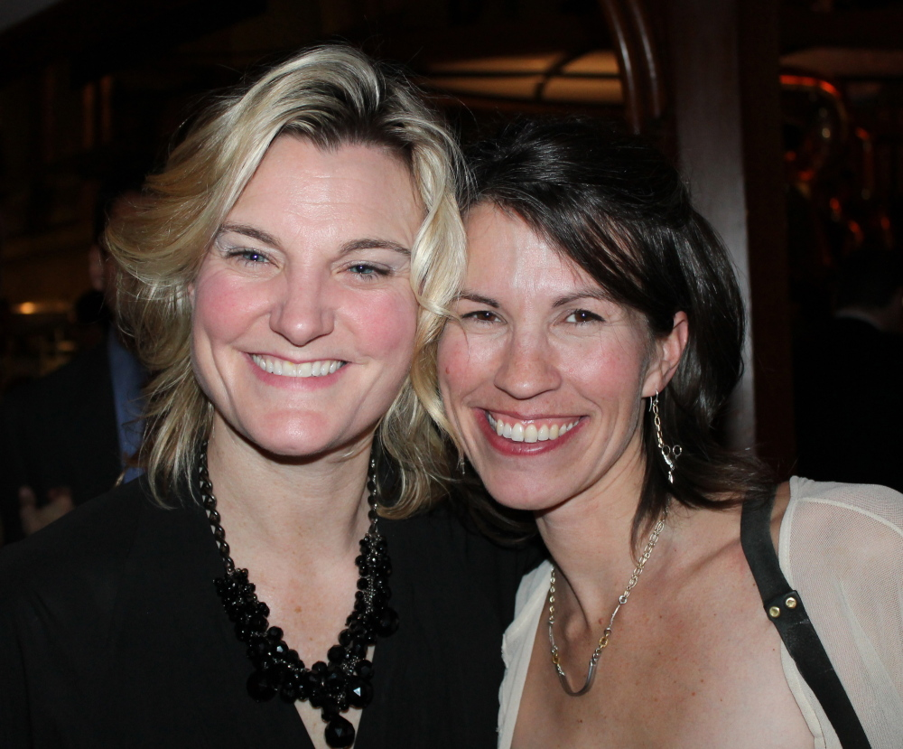Elizabeth Moss, an art gallery owner in Falmouth, with Kate Anker of Running with Scissors.