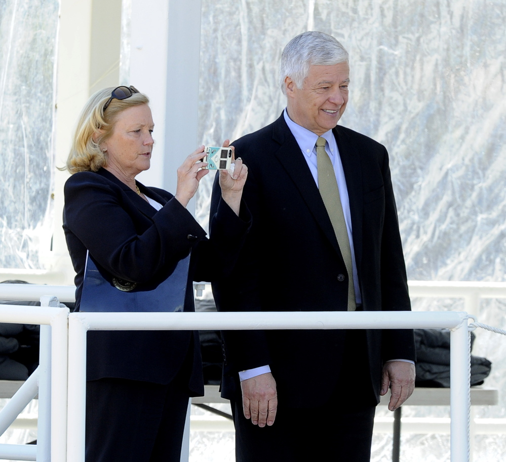 Maine Reps. Chellie Pingree and Mike Michaud attend the christening.
