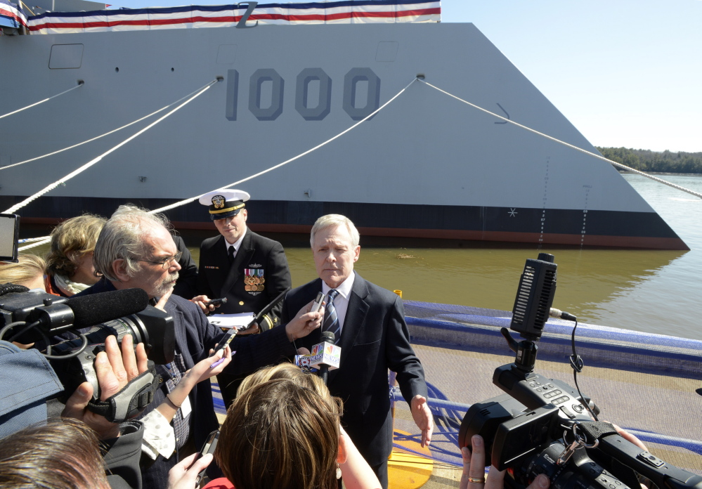 Secretary of the Navy Ray Mabus attends a new conference before the christening.