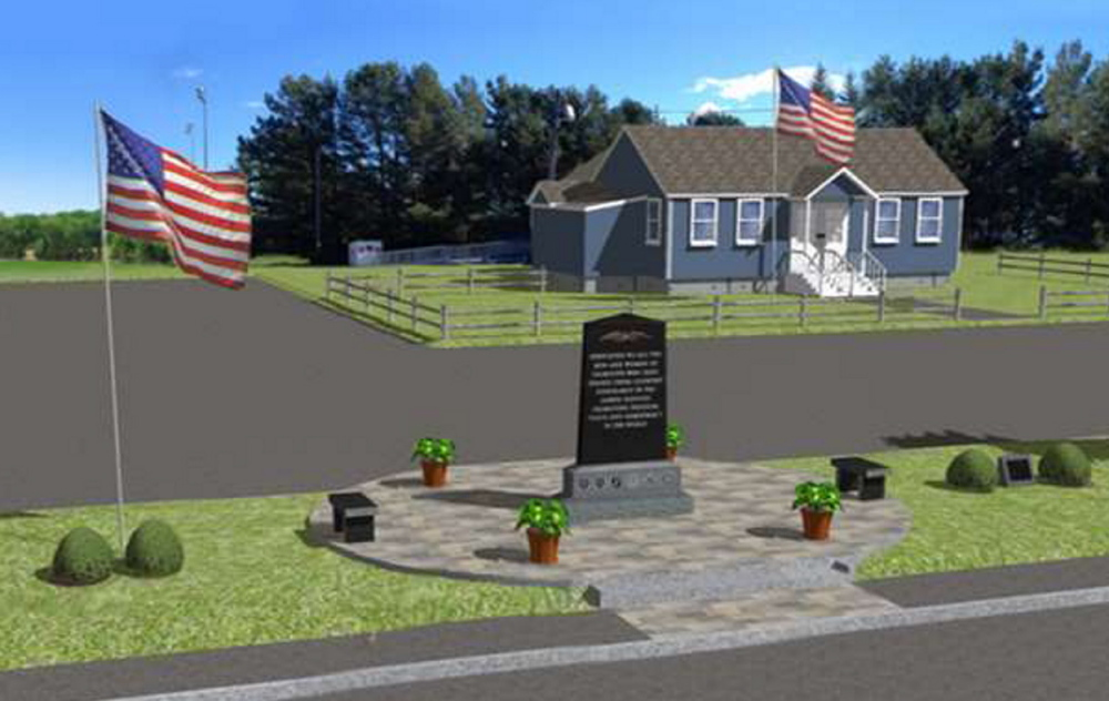 The memorial plot would feature an almost 9-foot-tall polished black granite stone inscribed with a verse memorializing fallen and living military veterans. Stone benches and decorative paving stones would enhance the display on Depot Road in Falmouth.