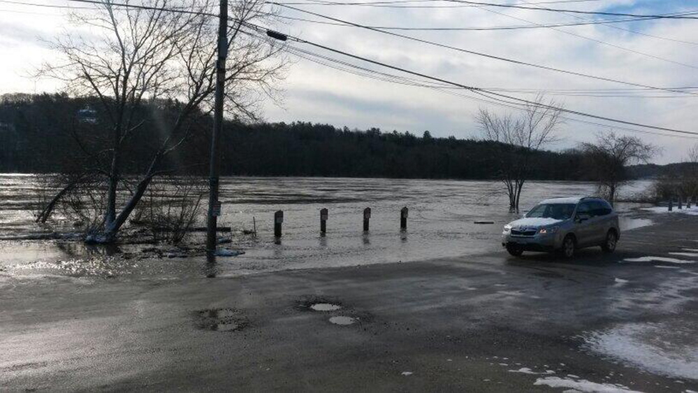 Front Street in Hallowell was flooded Wednesday morning.