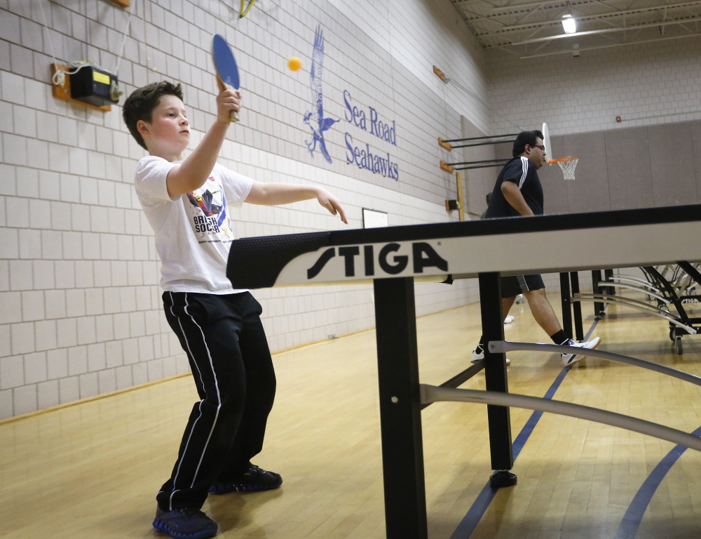 Braeden Stephenson, 10, of Kennebunk competes in a table tennis tournament Saturday at the Kennebunk Recreation Department. Players competed at three skill levels and could also use a 44-millimeter ball or play with a partner.