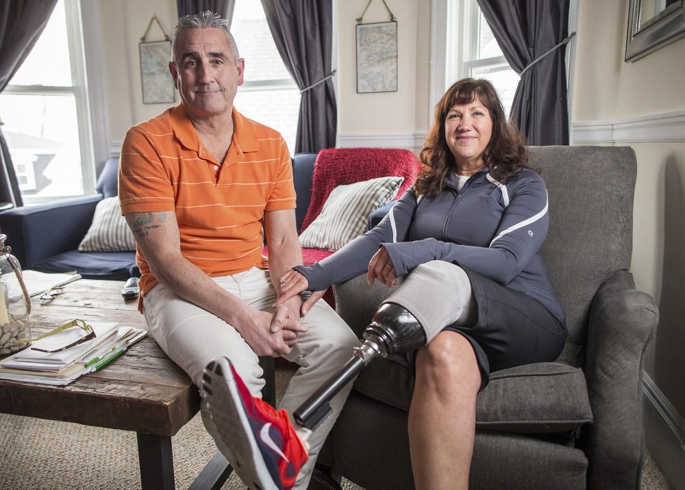 Karen McWatters and her husband, Kevin, talk about the Boston Marathon bombings, in which Karen lost a limb and a dear friend, Chrystle Campbell. This year, she'll cheer as Kevin runs the race.
