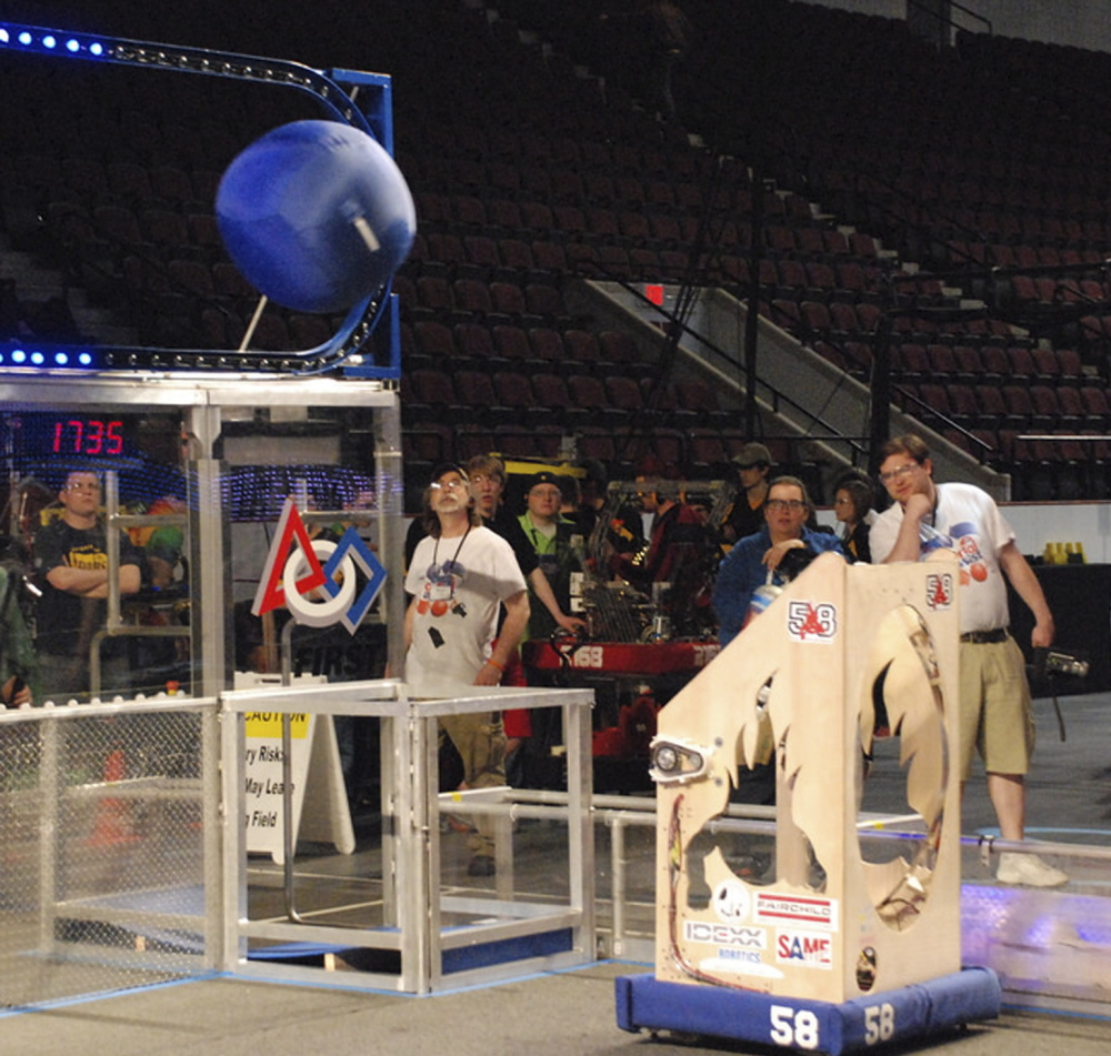 Krugelfang, the South Portland robotics team robot, is shoots for 10 points.