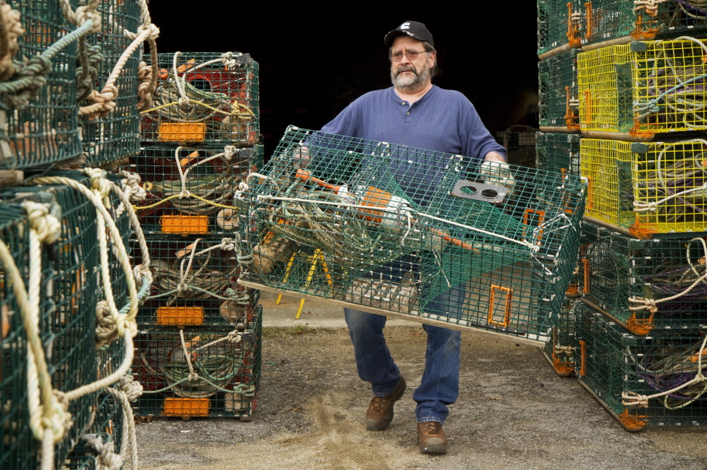 """Lobsterman Wayne Parry gets some of his 800 traps ready for the season at his Arundel workshop on Wednesday. """"A little less catch should help us a little on price,"""" said Parry. """"It's hard to tell how a huge reduction in catch would affect us."""""""