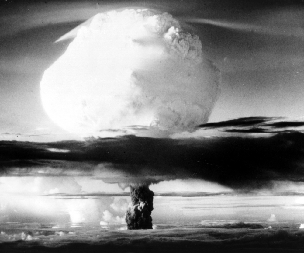 The first hydrogen bomb erupts over the Eniwetok Atoll, Marshall Islands, on Nov. 1, 1952. The Marshall Islands has filed a lawsuit against nine nuclear-armed nations.
