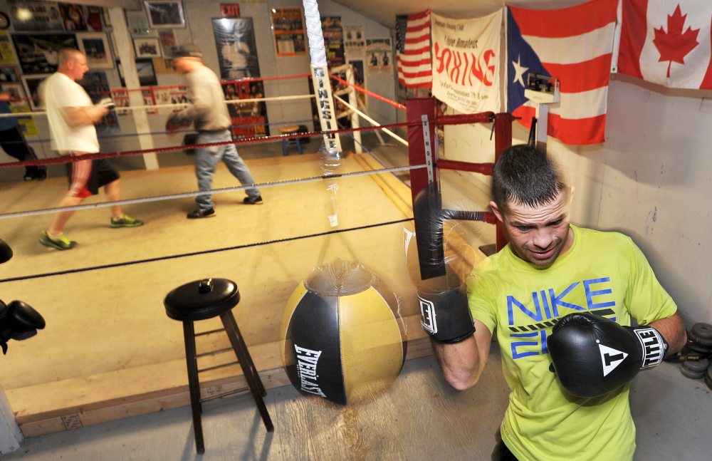 Brandon Berry works out at Wyman's Boxing Club in Stockton Springs on Wednesday. He is preparing for his fifth professional bout in his first year as a pro, at Carabec High School in North Anson on Saturday night.