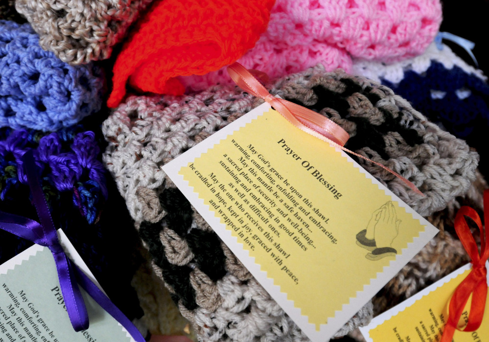 These prayer shawls will be given out by the Holy Family Parish's Prayer Shawl Ministry in Amesbury, Mass. The ministries exist in all 50 states, offering comfort in times of loss and joy in times of celebration.