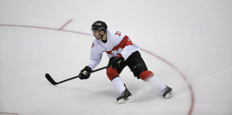 Canada forward Patrice Bergeron is shown in action at the 2014 Winter Olympics in February in Sochi, Russia. 2014 Sochi Olympic Games,Winter Olympic games,Olympic games,Sports,Events,XXII Olympic Winter Games
