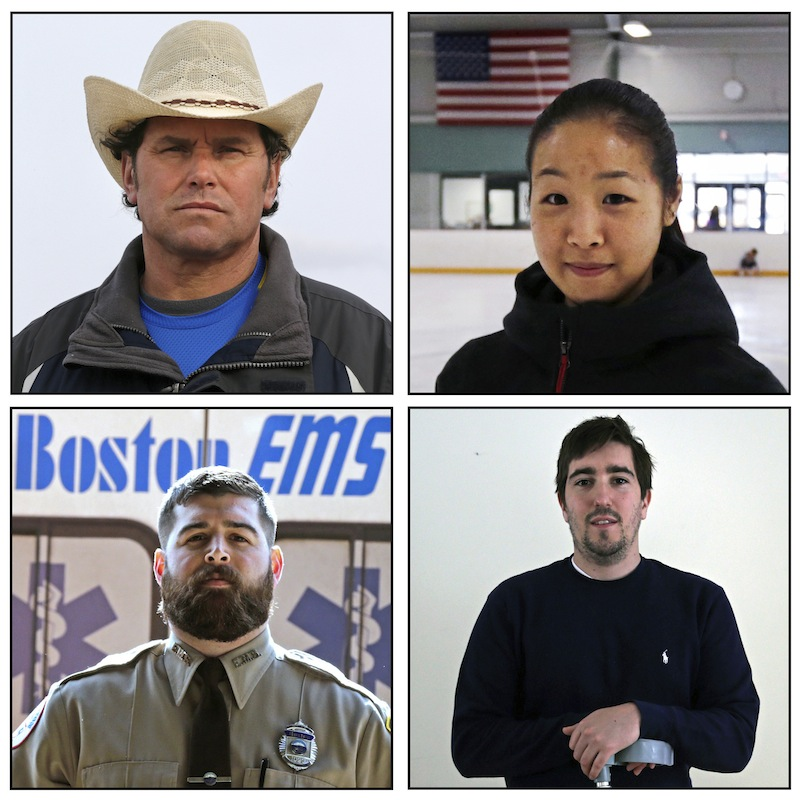 This combination of March 2014 photos shows Carlos Arredondo, Devin Wang, Jeff Bauman and Paul Mitchell, clockwise from top left. The four were captured in an Associated Press photo that shows three rescuers rushing an injured man from the scene of the Boston Marathon bombings.