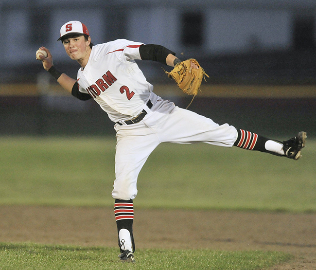 In this May 22, 2012, Joe Cronin, then-Scarborough shortstop, makes an off-balance throw to first after bare handing a slow infield roller in a game against Westbrook.