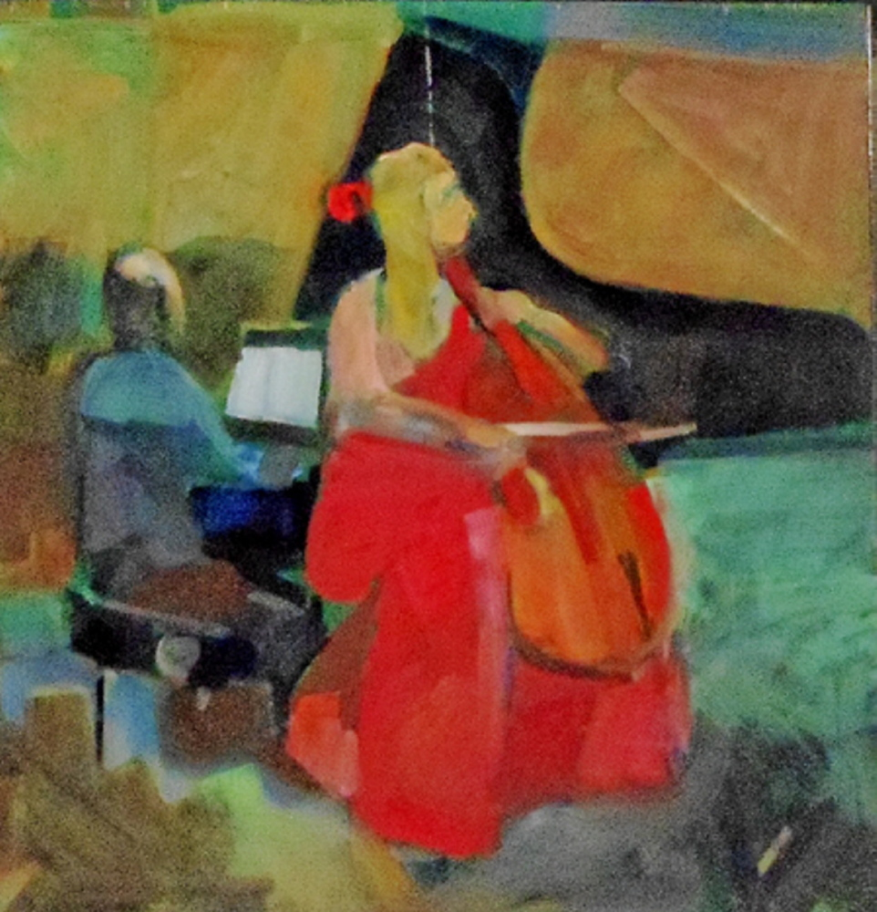 """""""The Cellist,"""" by Ed Douglas, from his exhibition at Greenhut Galleries in Portland."""