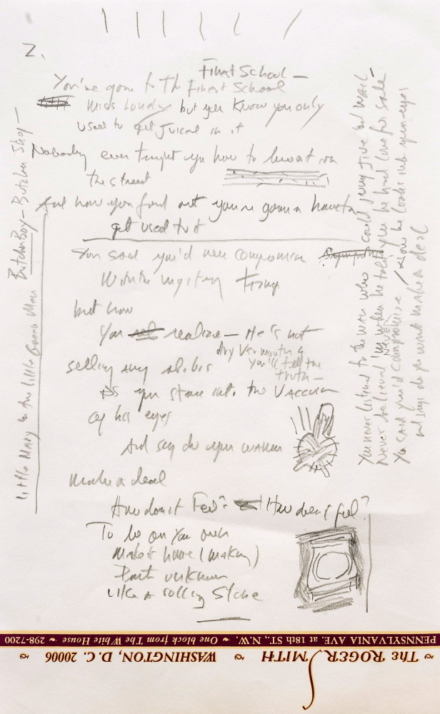 "A page from a working draft of Bob Dylan's ""Like a Rolling Stone,"" one of the most popular songs of all time."