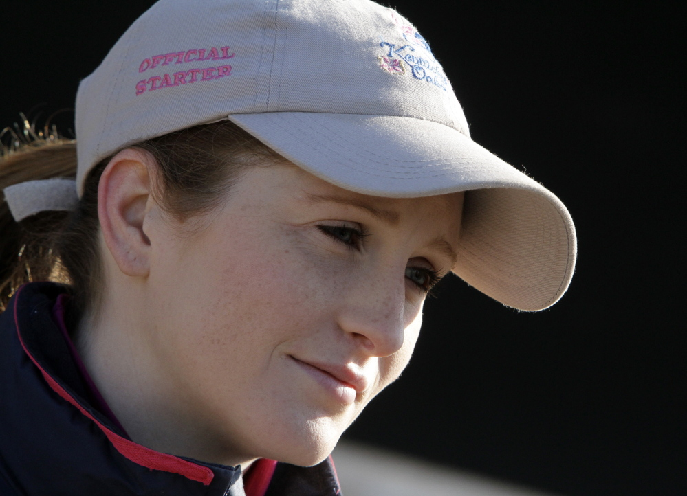 Jockey Rosie Napravnik answers questions at Churchill Downs on Thursday in Louisville, Ky.