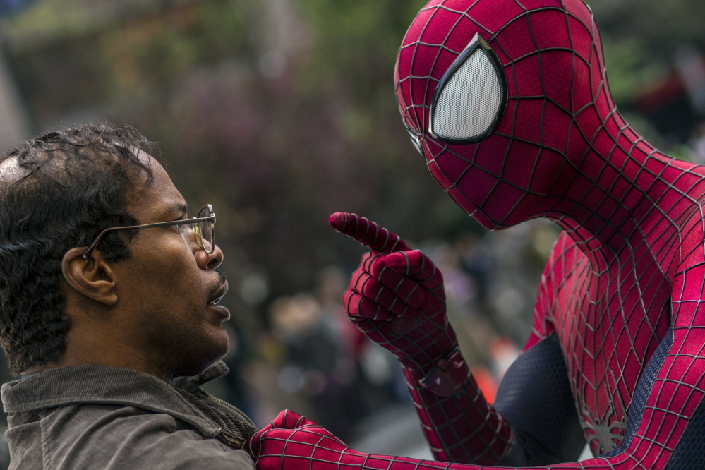 """Jamie Foxx and Andrew Garfield square off in """"The Amazing Spider-Man 2."""""""