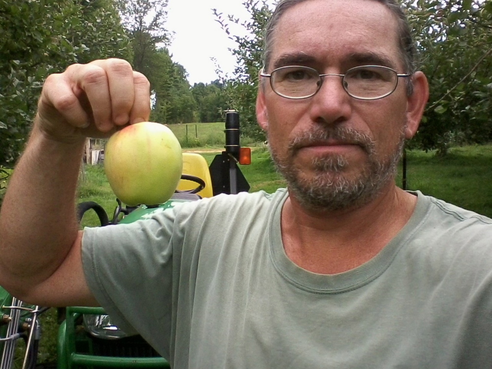Mike Bendzela holds a heritage Chenango Strawberry apple.