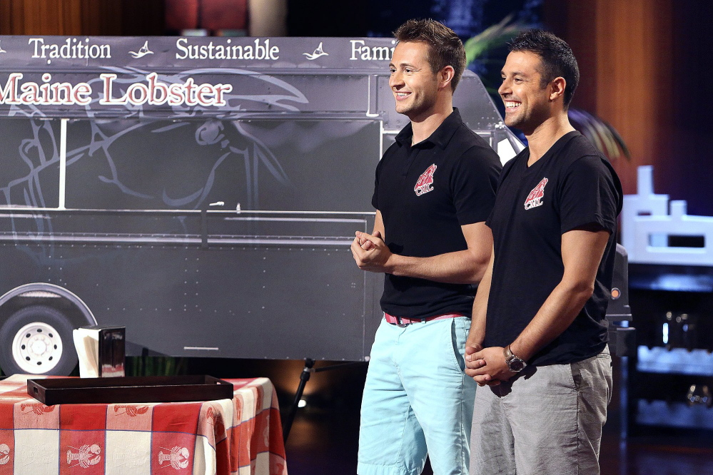 "Jim Tselikis, left, of Cape Elizabeth and his cousin Sabin Lomac of Scarborough appear on the reality show ""Shark Tank"" in 2012. With help from a private investor they met, they built a successful business selling lobster and other Maine cuisine out of food trucks in Los Angeles."