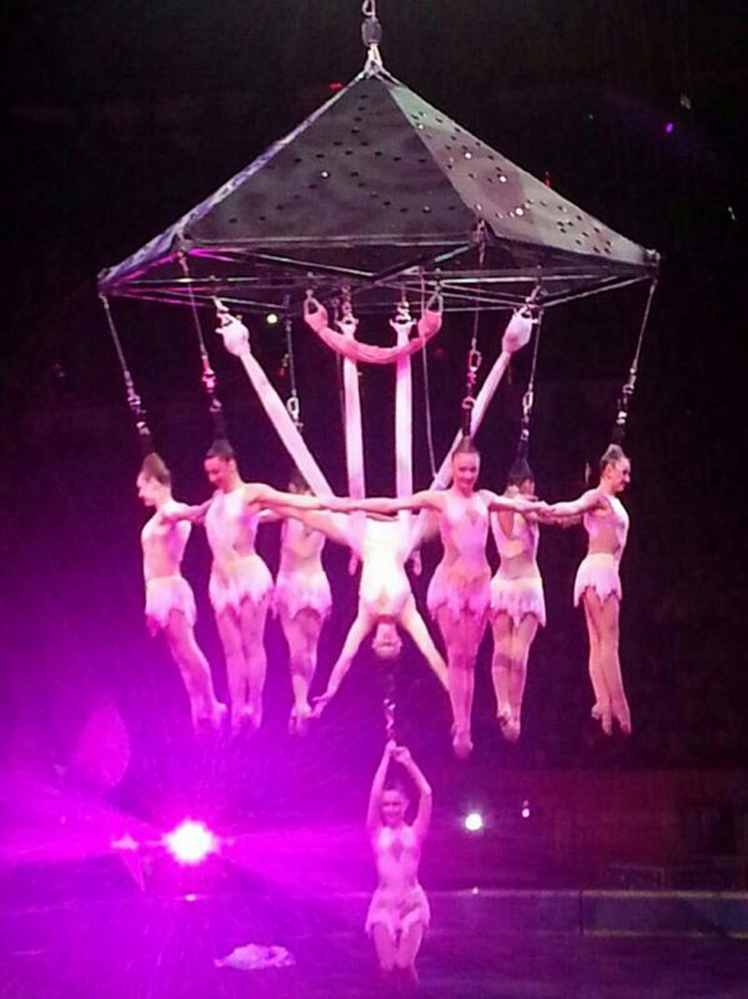 In this photo provided by Frank Caprio, performers execute an aerial hair-hanging stunt at the Ringling Brothers and Barnum and Bailey Circus, on Friday in Providence, R.I.