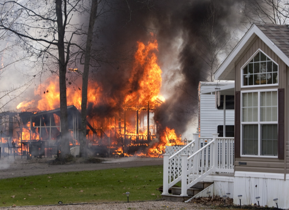 Flames consume the structures at Wagon Wheel RV Resort and Campground in Old Orchard Beach on Thursday.