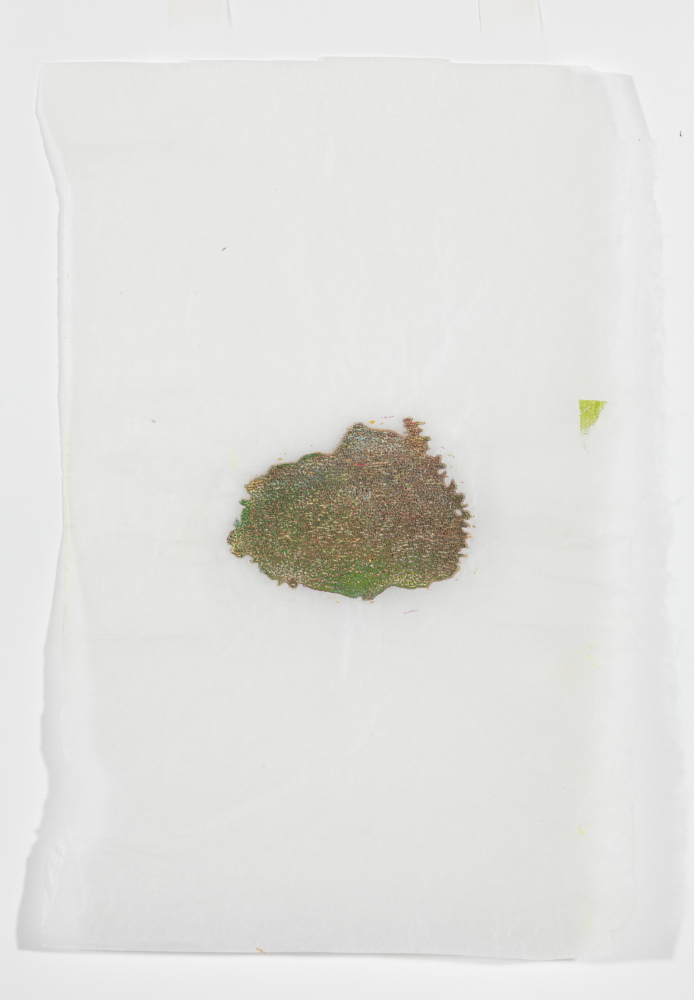 """Green Island,"" 2014, printer's ink on gampi paper."