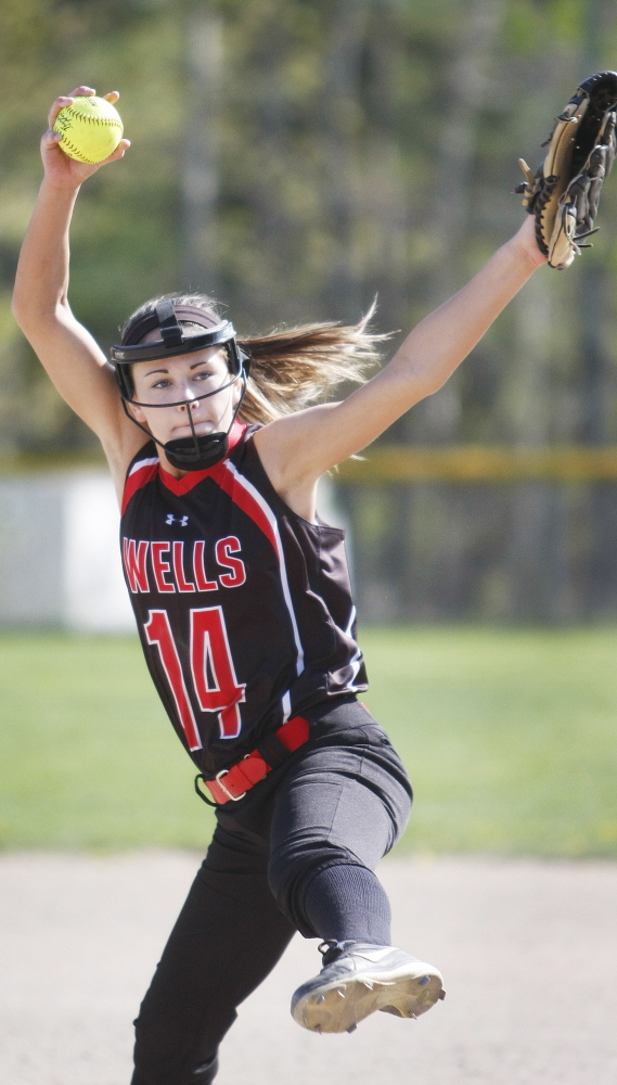 All's well with Lauren Bame's windup, as the Wells High School pitcher throws the equivalent of two softball games by going 14 innings in Thursday's triumph over Falmouth.