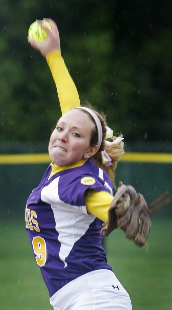 Brittany Bell of Cheverus pitched a two-hitter Monday with 12 strikeouts and one walk as the Stags continued their strong rebound season with a 4-0 victory against Bonny Eagle at Standish.