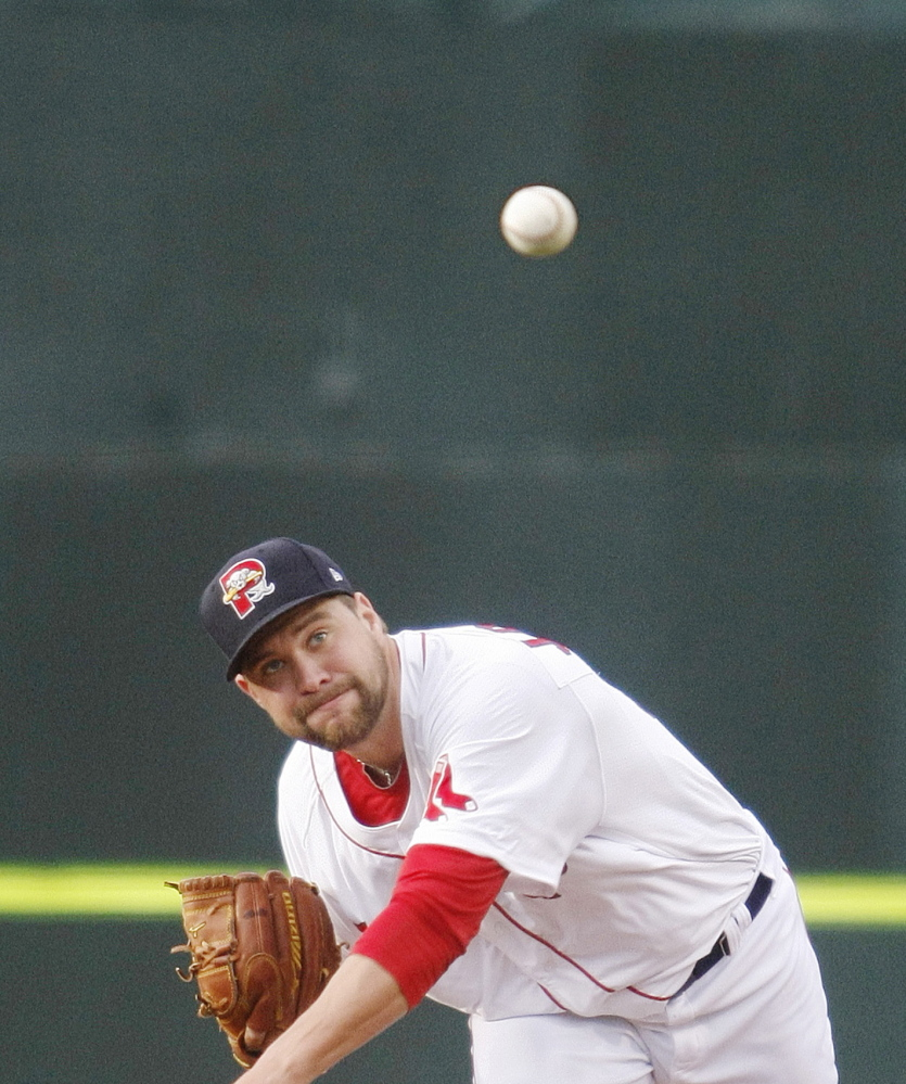 Sea Dogs pitcher Brian Johnson delivers a pitch in the second inning Tuesday night at Hadlock Field. Johnson pitched six innings, allowing one run in a 2-1 win.