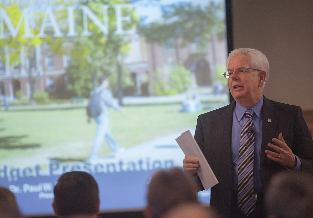 University of Maine President Paul Ferguson speaks during a budget presentation to university employees in Orono in March.
