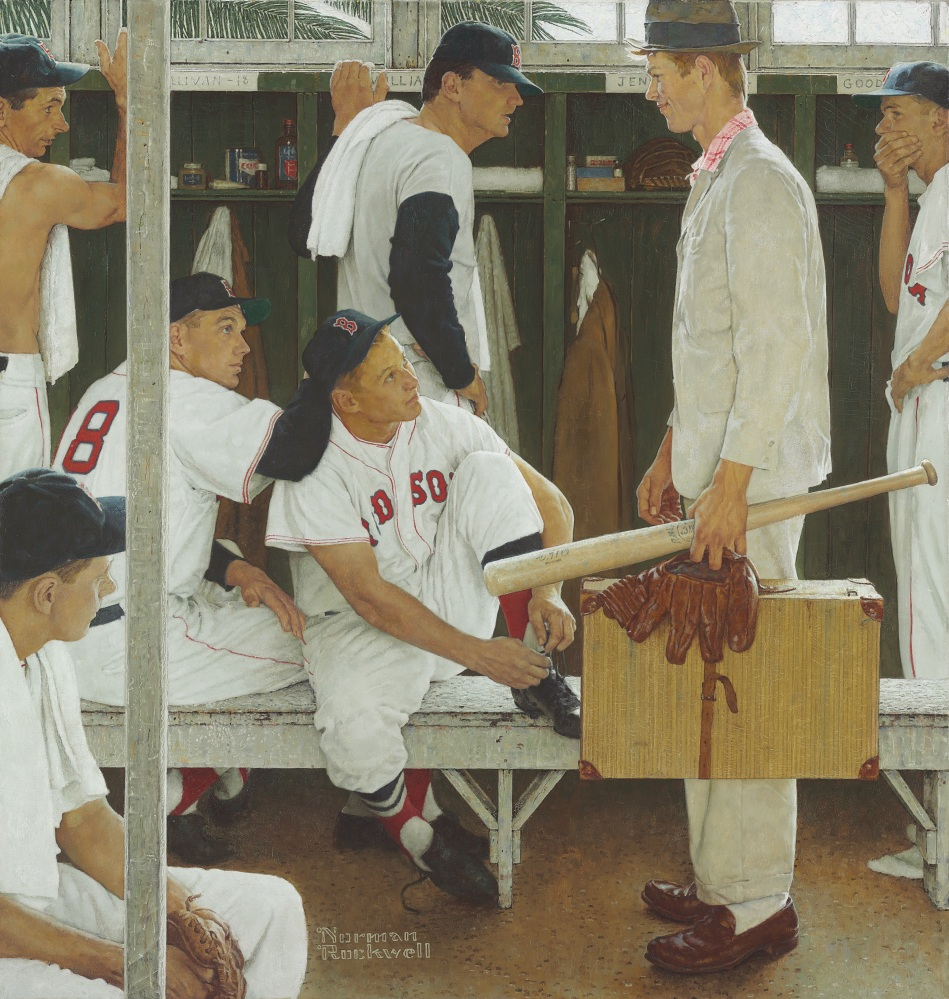 """Norman Rockwell's """"The Rookie (Red Sox Locker Room),"""" showing pitcher Frank Sullivan, right fielder Jackie Jensen and catcher Sammy White, second baseman Billy Goodman and Hall of Famer Ted Williams, was exhibited this month at Fenway Park and the Museum of Fine Arts in Boston."""