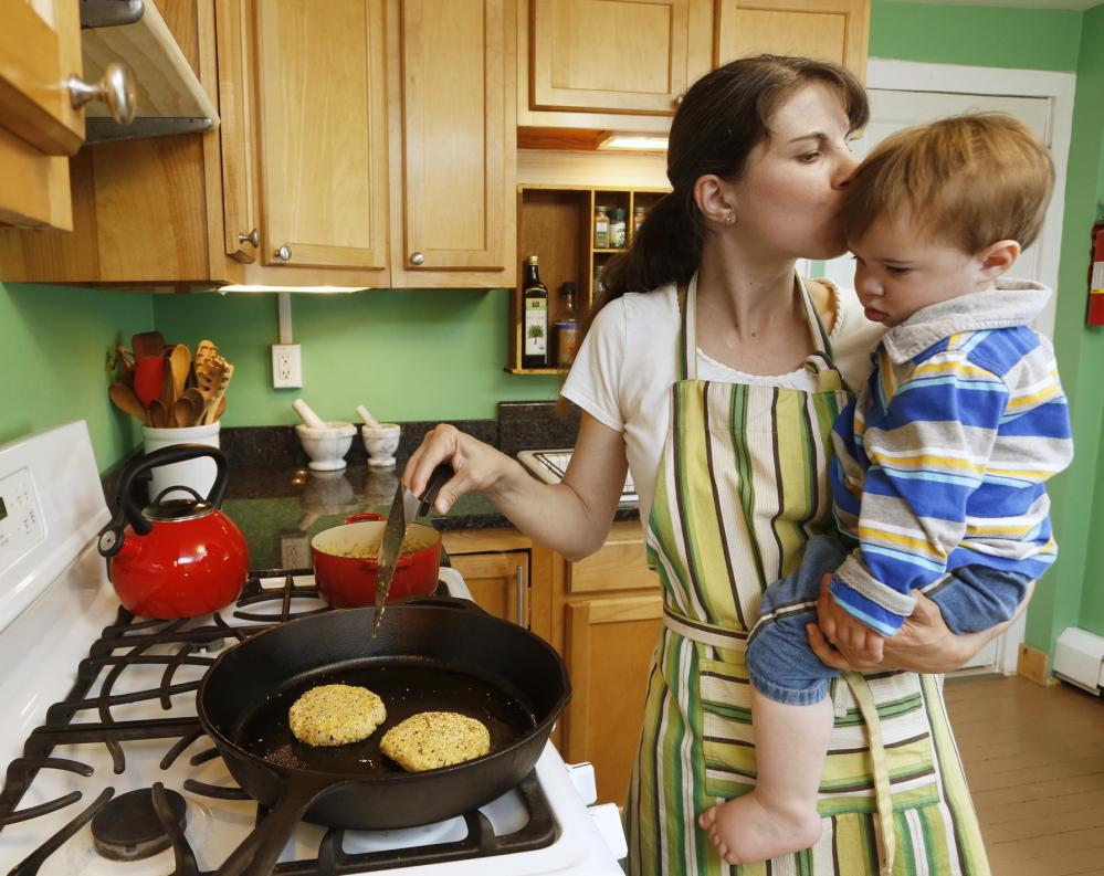 Avery Yale Kamila prepares vegan Cashew Corn Cakes in her Portland kitchen.