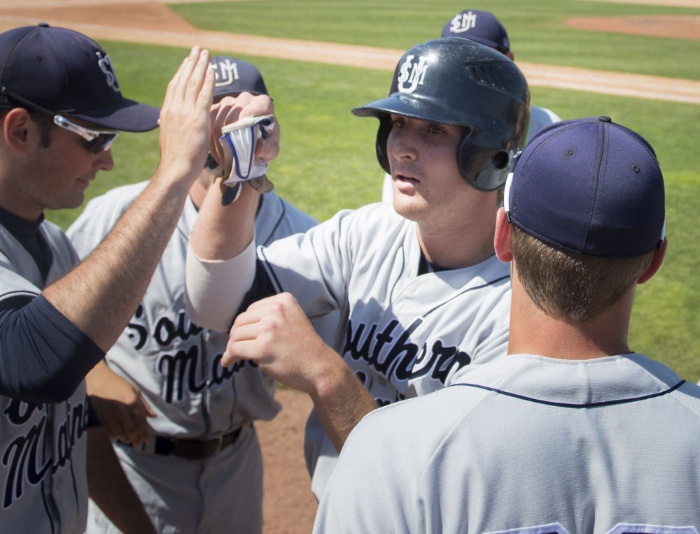 Forrest Chadwick is hobbled by an injury but still has been a force for the University of Southern Maine baseball team in the NCAA Division III championships. Chadwick is 8 for 13 with seven runs batted in during the tournament.