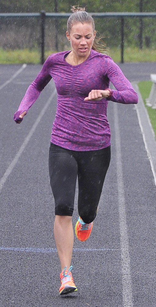 Michelle Lilienthal, who moved from Minnesota to Maine to further a personal relationship, is an elite women's distance runner who already has qualified for the 2016 Olympic trials in the marathon. Photo by John Patriquin/Staff Photographer