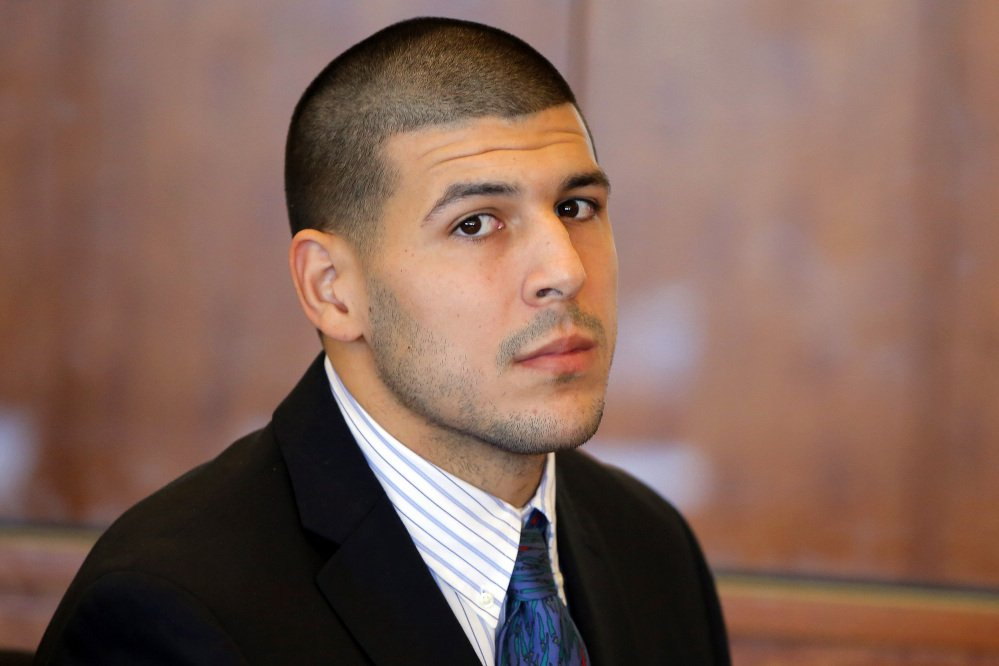 Aaron Hernandez at a pretrial court hearing in Fall River, Mass. in 2013. The Associated Press