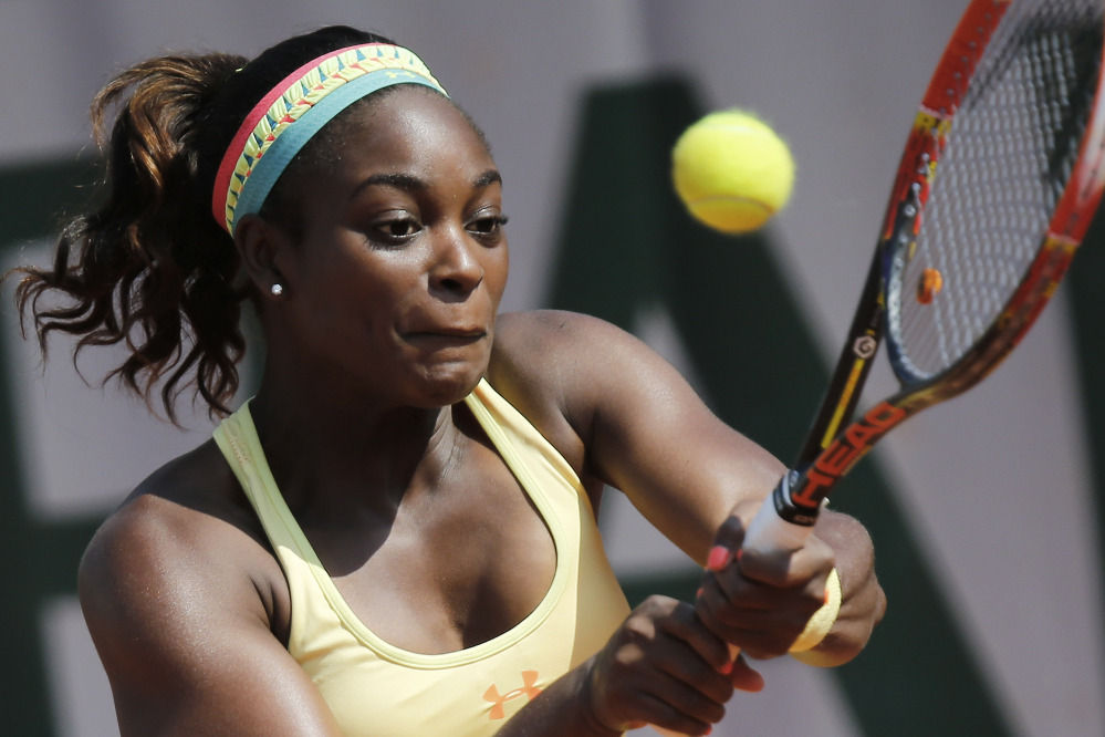 Sloane Stephens of the U.S. returns the ball during the third-round match of the French Open against Russia's Ekaterina Makarova at the Roland Garros stadium, in Paris on Saturday. Stephens won in two sets 6-3, 6-4. The Associated Press