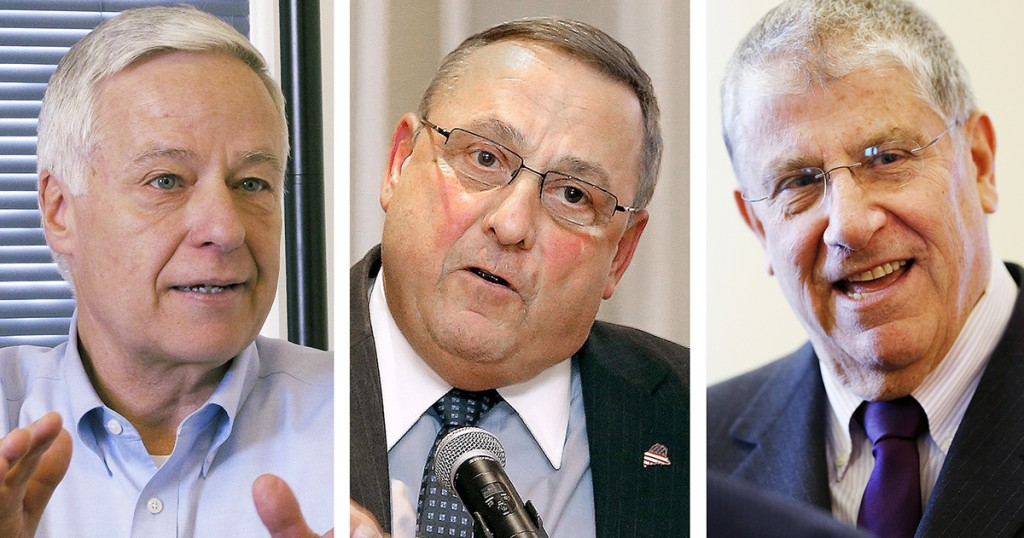 From left, U.S. Rep. Mike Michaud, Gov. Paul LePage and Eliot Cutler, candidates for governor.
