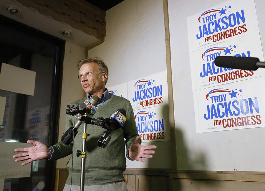 Alan Brewer, spokesman for Troy Jackson, speaks to the media at Jackson's campaign headquarters in Lewiston as results start to come in during primary elections.  Derek Davis/Staff Photographer